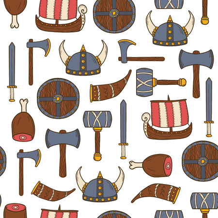 vikingo: De fondo sin fisuras en el tema vikingo con objetos dibujados a mano de dibujos animados Vectores