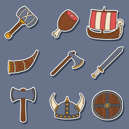 norseman: Set of cartoon hand drawn stickers on viking theme Illustration