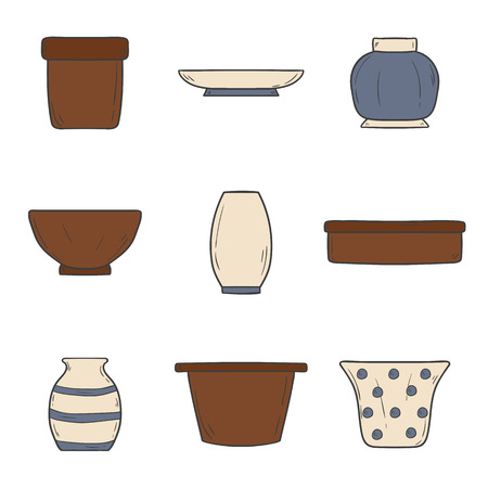 earthenware: Set of hand drawn flowerpots for your houseplant or decoration design Illustration