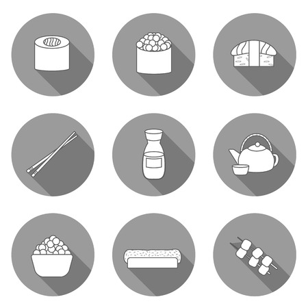 wasabi: Set of icons on japanese cuisine theme: tea pot, rolls, sushi, wasabi, caviar. Ethnic travel concept. Great for restaurant menu, food site