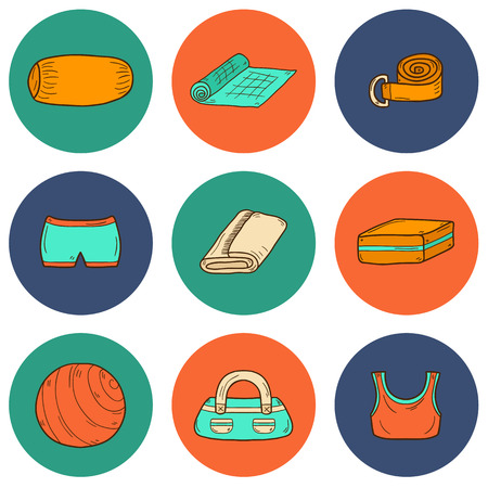 sport mats: Set of yoga equipment icons in hand drawn style: ball, uniform, belt, mat, towel, roller. Healthy lifestyle concept Illustration