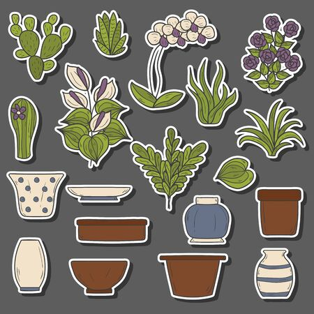 ferns and orchids: Set of cute cartoon hand drawn houseplants stickers