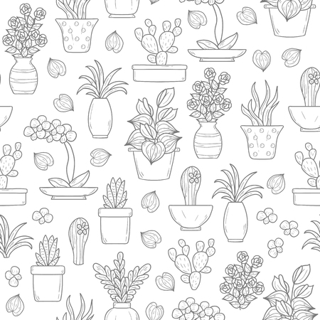 indoor garden: Seamless background on houseplants theme with cartoon hand drawn objects
