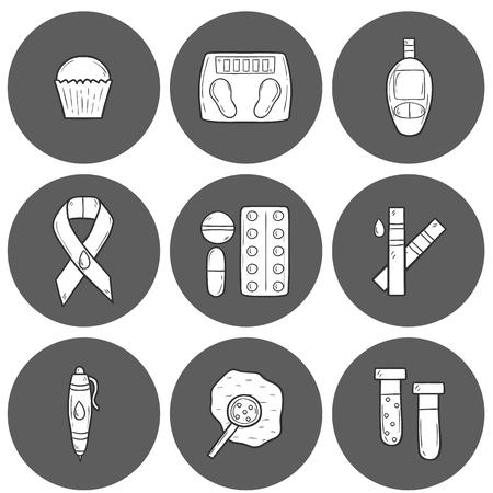 symptom: Set of cartoon icons on diabetes theme in hand drawn style