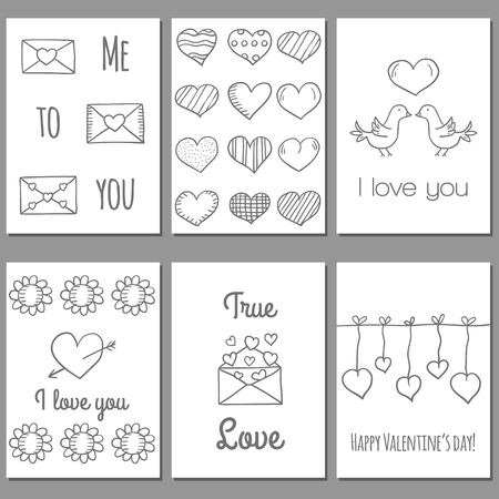 cartoon envelope: Ser of cute Valentines Day cards in hand drawn style