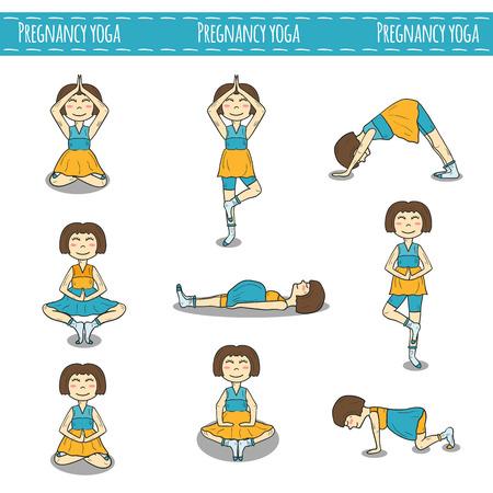 pregnancy yoga: Set of hand drawn pregnant women on pregnancy yoga theme