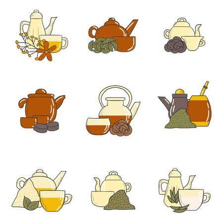 tea ceremony: Tea ceremony set with teapots and cups in hand drawn style