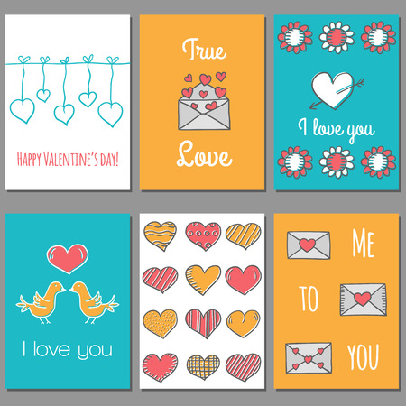love bird: Ser of cute Valentines Day cards in hand drawn style