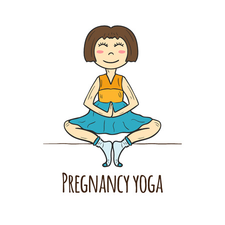 pregnancy exercise: Pattern on pregnancy healthcare theme in hand drawn style with pregnant women in yoga pose