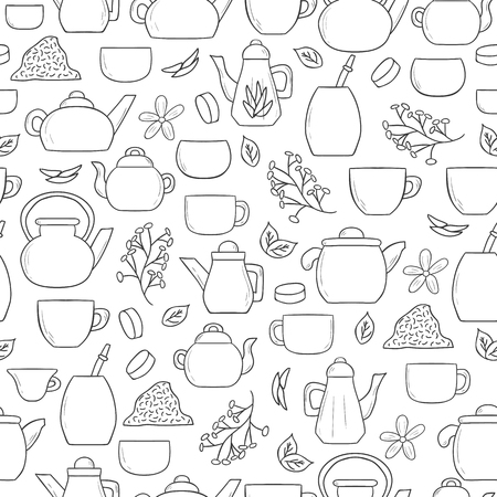 tea ceremony: Tea ceremony seamless background with teapots and cups in hand drawn style