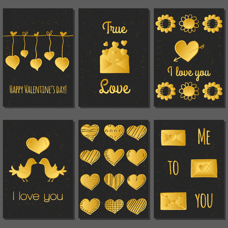 love gold: Ser of cute Valentines Day cards in hand drawn style