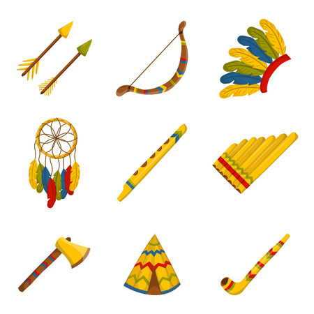 fife: Set of cartoon icons on injun theme. Native american concept for your design