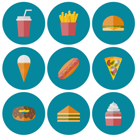 american food: Vector american fast food concept with cartoon flat objects: fried potato, hot dog, soda, hamburger, sandwich for your design
