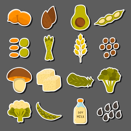 soy free: Set of cartoon objects on vegan source of protein theme: tofy, soya beans and milk, quinoa, lentil, chia. Healthy vegetarian food concept for your design Illustration