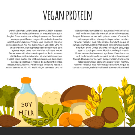 soy free: Background with cartoon objects on vegan source of protein theme: tofy, soya beans and milk, quinoa, lentil, chia. Healthy vegetarian food concept for your design
