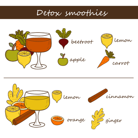 detox: Set of hand drawn objects on detox smoothies recipes theme. Raw vegan concept Illustration