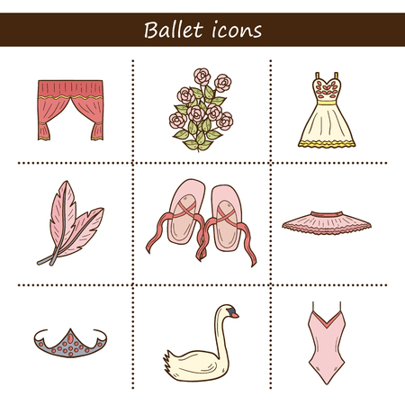 gym dress: Set of hand drawn cartoon objects on ballet theme: shoes, dress, swan, tutu Illustration
