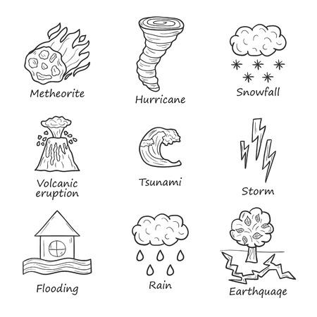 Conjunto de objetos dibujados a mano de dibujos animados sobre el tema de los desastres naturales