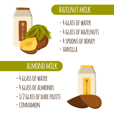 Vegetable milk recipes from hazelnuts and almonds in cute cartoon style Ilustração