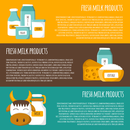 lactose intolerant: template for milk products background in cute cartoon style Illustration