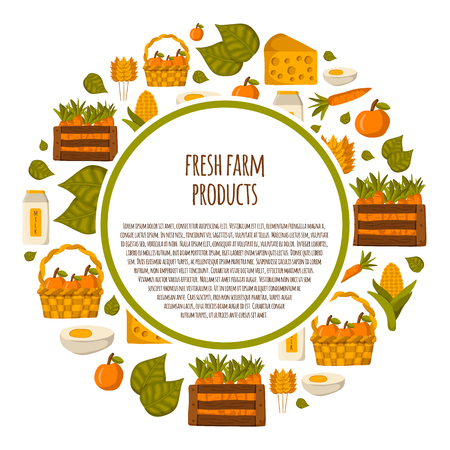 textspace: Round background on farm products theme in cute cartoon style with textspace