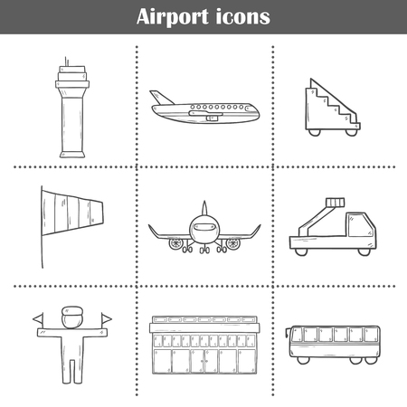 wingspan: Set of hand drawn airport icons for your design Illustration