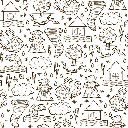 Seamless cartoon hand drawn background on natural disaster theme