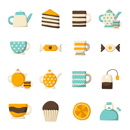 teatime: Set of cute teatime cartoon objects for your design