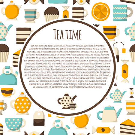 teatime: Cute teatime cartoon concept with seamless background for your design Illustration