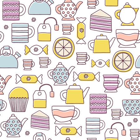 teatime: Seamless cute teatime cartoon background for your design Illustration