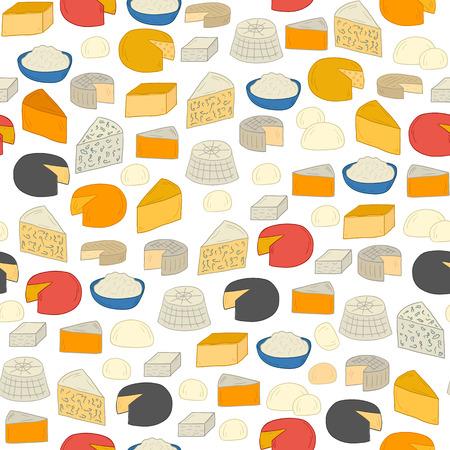 gouda: Seamless background on cheese types theme