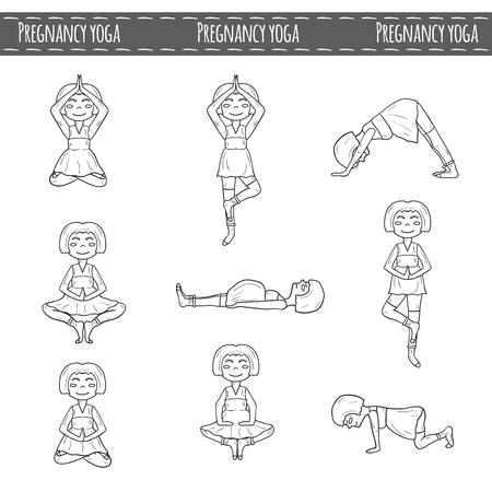 pregnancy yoga: Set of  pregnant women on pregnancy yoga theme Illustration