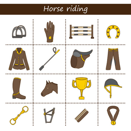 paddock: Set of cartoon  cartoon horse riding objects Illustration