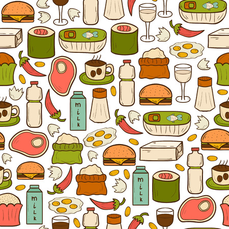 avoid: Seamless background with food to avoid during pregnancy in hand drawn dtyle