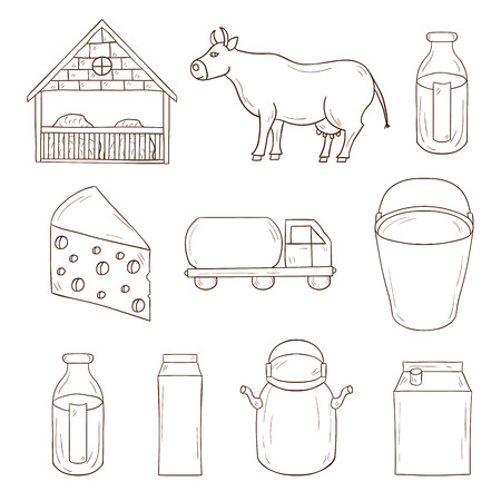 milk production: Set of milk production icons for your design Illustration