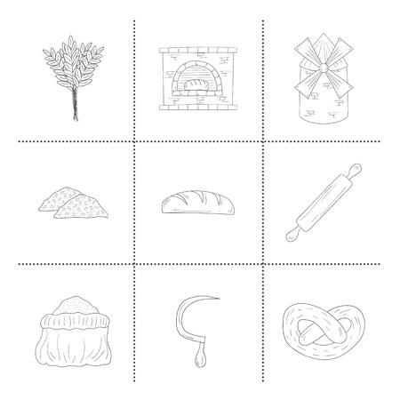 furnace: Set of  bread harvest objects: loaf, flour, furnace, mill