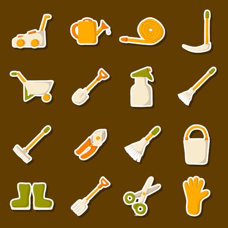 crop sprayer: Vector garden tools icons. Cartoon garden tools objects. Garden equipment and farming tools. Farm work tools concept. Spring summer outdoor work. Garden plants care. Vector gardening tools