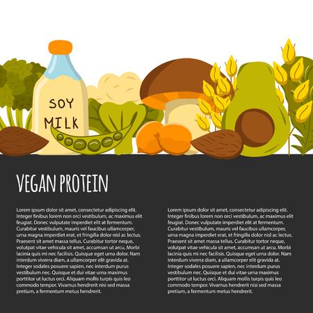 Vector background with cartoon objects. Vegan protein source: tofu, soya beans, milk, quinoa, lentil, chia. Healthy vegetarian, vegan, raw food concept design. Organic shop, store, market, card design