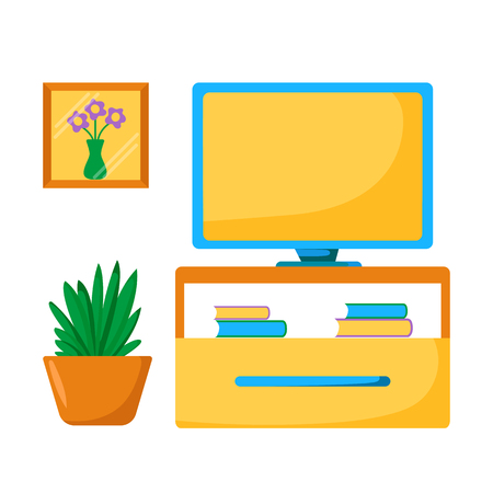lowboard: Vector tv room illustration. Home relaxing with tv room concept. living room interior: tv screen, houseplant, furniture. Cartoon indoor television room. Living room interior design with tv place