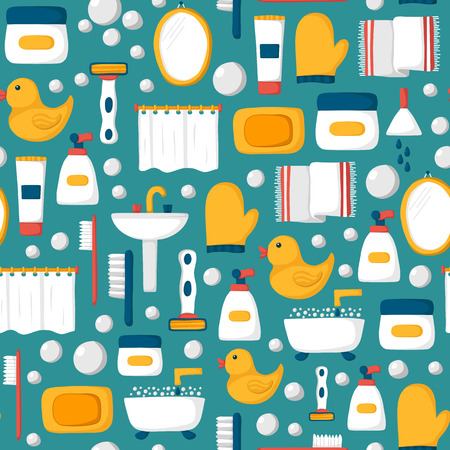 Seamless background with cartoon bathroom objects: bath, duck, toothbrush, towel, sink, creams, mirror. Indoor house concept. Bath things design Illusztráció