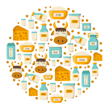 dairy products: Round background with cartoon cute milk products. Milk intolerance or lactose free concept. Dairy products. Natural organic milk good. Farm production concept