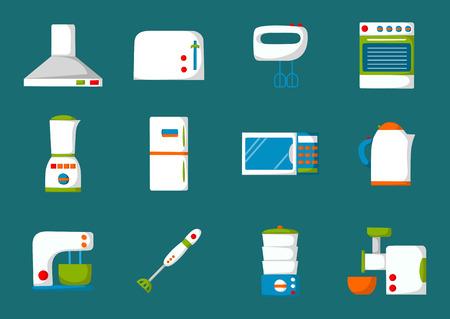 KITCHEN APPLIANCES: Set of isolated cartoon kitchen appliances. Flat icons. Kitchen domestic electric equipment Illustration