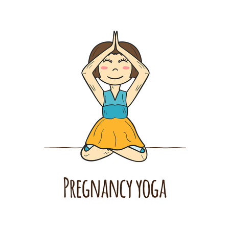 happy pregnant: Vector illustration with pregnant woman in yoga posture. Pregnancy yoga concept. Cartoon pregnant woman. Active pregnancy and lifestyle. Healthy pregnancy yoga. Happy pregnant woman, happy pregnancy