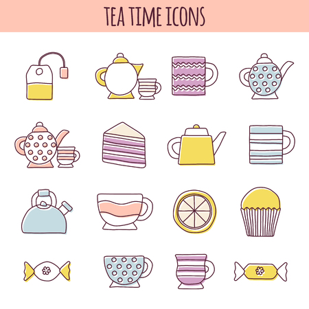 teatime: Set of cute teatime cartoon objects. Tea ceremony concept. Classical traditional tea party with muffins, sweets, lemons