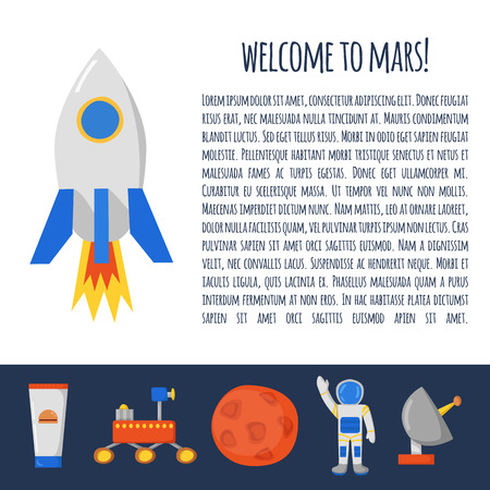 colonization: Vector concept with cute cartoon objects on Flight to Mars theme. Astronaut, Mars mountain, cosmic food, rover, planets Earth and Mars. Colonization project concept. Human adventure to red planet