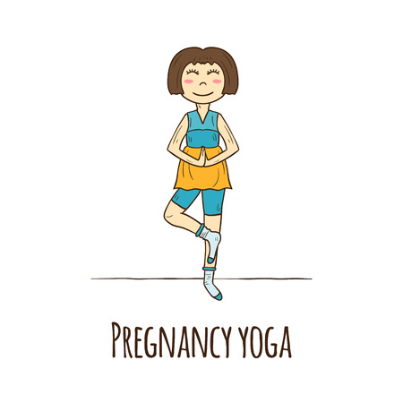 pregnancy yoga: Hand drawn pattern on pregnancy healthcare theme with pregnant women in yoga tree pose. Healthy lifestyle concept. Bodycare and heathcare pregnant woman. Active pregnancy. Yoga studio pattern