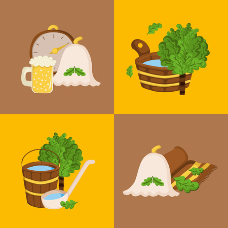 sauna: Vector sauna concept in cartoon style. Spa relax concept. Bodycare and healthcare design. Sauna icons
