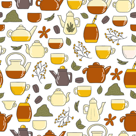 tea ceremony: Tea ceremony seamless background with teapots and cups in hand drawn style. Tea types. Traditions and culture concept. Tea traditions in different countries Illustration