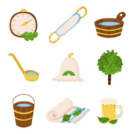 besom: Vector sauna objects in cartoon style. Spa relax concept. Bodycare and healthcare design. Set of sauna icons
