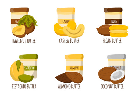 protein source: Nuts butter types. Healthy snack, breakfast, lunch. Natural organic raw food concept.  Organic store, market. High-calorie food. Vegan, vegetarian source of protein. Nuts butter in cute cartoon jars